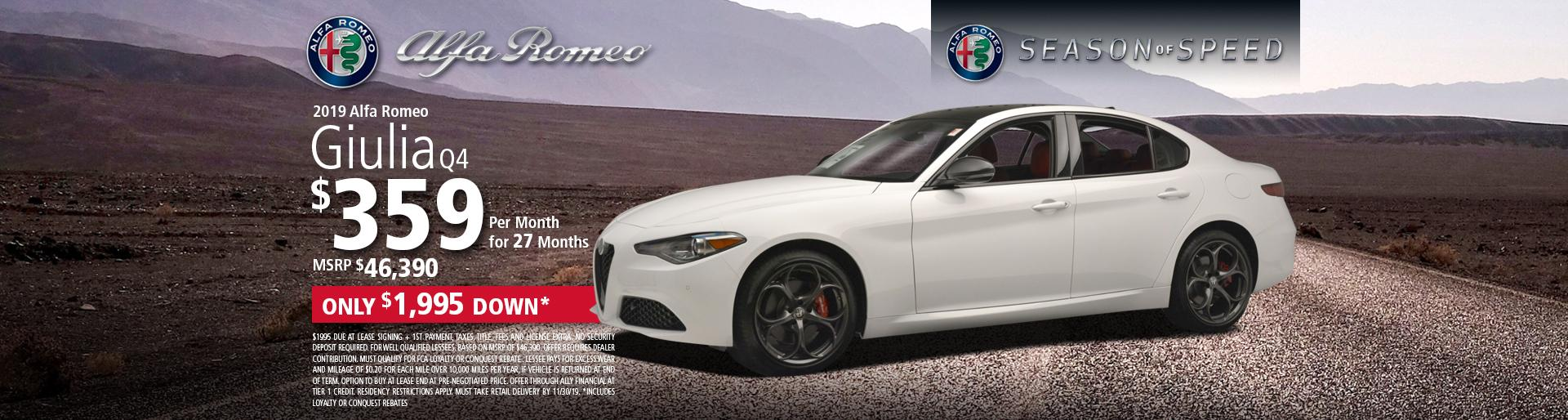 Lease 2019 Alfa Romeo Giulia Q4 $359 per month for 27months. Only $1,995 Down* MSRP $46,390