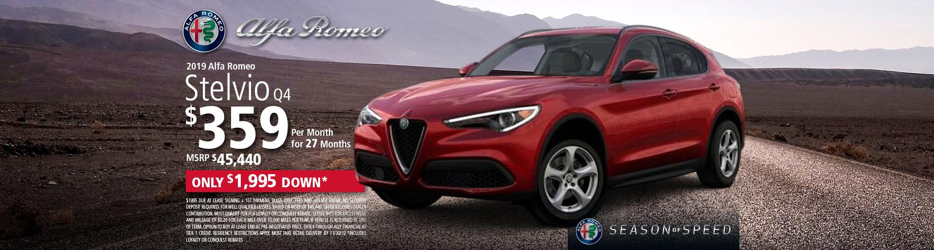 2019 Alfa Romeo Stelvio Q4 $359 per month for 27 months. Only $1,995 Down*